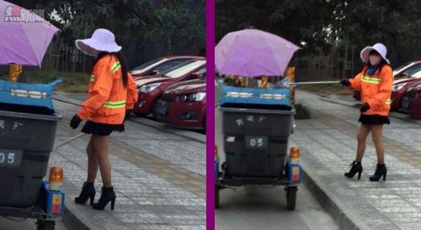 [新聞] 【今日佢最潮】四川辣妹清潔工 高跟掃街無難度
